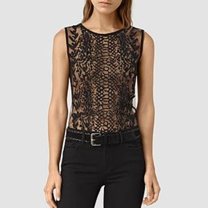 All Saints Sheer Embroidered Top